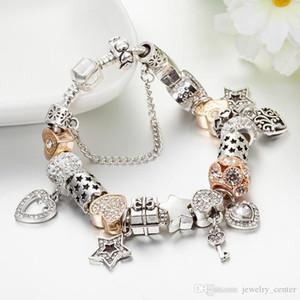 جودة عالية 925 الفضة مطلي على شكل قلب سحر ونقل قلادة سوار ل باندورا سحر أساور هدية مجوهرات
