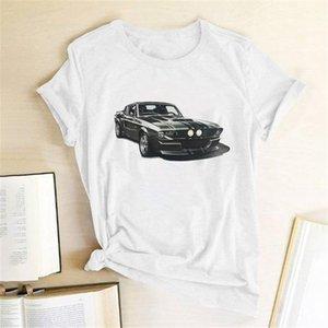 Spor Araba Ptinting Kadınlar T-shirt Kısa Kollu Rahat Yaz T-shirt Femme Kadınlar 2021 Bayanlar Mujer Camisetas Için Giysileri Tops