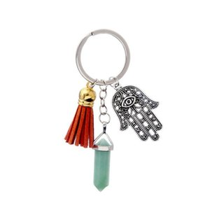 10 Pcs Silverl Plated Hand Hexagon Column Rock Crystal Key Chain with Tassels Green Aventurine Jewelr