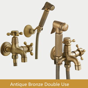 Antike Bronze Hand Held Bidet Spray Dusche Set Kupfer Bidet Sprayer Lanos WC Bidet Wasserhahn WC, Wandmontierter Tap Q0112