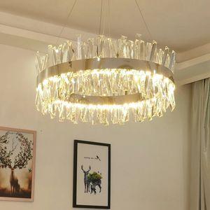 New Modern Crystal Chrome Round Chandelier Lighting Gold Rectangle Chandeliers For Living Room Bedroom Kitchen Island Lustre