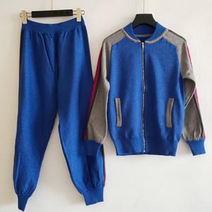 Женский свитер костюм женщина Tracksui кардиган набор двух частей наборы женщина спортивная одежда повседневная одежда высокое качество LLVV Designn вязаный свитер
