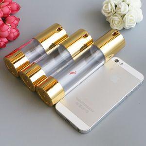 Yeni Altın Kozmetik Airless Losyon Şişesi Özü Serum Ambalaj Pompası Şişeleri 15 ml 30 ml 50 ML Boş Makyaj Kapları 100 adet / lotgood Qualtityg