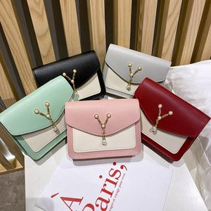 2020 New Women Leather Crossbody Purse Lightweight Elegant Color Block Shoulder Bag with Pearl Pendant and Chain Strap