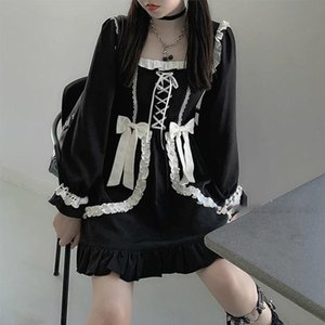 Japonais Lolita Gothic Robe Girl Girlwork Vintage Designer Mini Dress Japon Style Kawaii Vêtements Vêtements Robes pour femmes 2020