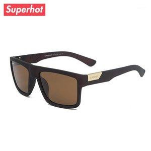 Superhot eyewear - الرجال الاستقطاب النظارات الشمسية أزياء الصيف نظارات الشمس الذكور عارضة ظلال البني الإطار uv400 SP79831