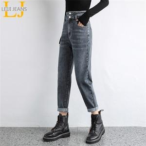 Leijijeans New Plus Size Hohe Taille Harem Lose Grau Farbe Frauen Freund Blau Lady Jeans 201223