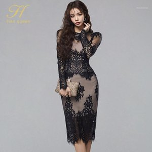 H Han Queen Womens Sexy Black Lace Hollow Fashion Business 2 Pieces Funda Lápiz Lápiz Bodycon Vestidos Vestidos Elegante Vintage1