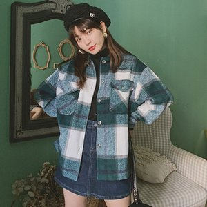 Vintage Winter Women's Blouse Shirt Plaid Oversized Pockets Shirt Outwear Clothing For Women Ropa Mujer Womens Tops And Blouses