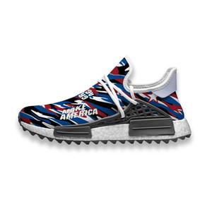 Custom Running Shoes Red Blue White Stars Flag Art Trump Human Race NMD Trail Mens casual Sneakers slip