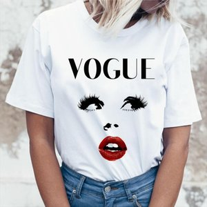 Summer Vogue Girl print Women T shirt Casual Short sleeve O neck T Shirt Fashion White Tee Shirt hipster cool ladies Tee