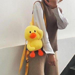 Unisex Yerllow Duck-Come peluche Crossbody Borse Strano Zaino Pacchetto