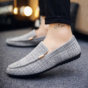 Brand Loafers Men Shoes Summer Fashion Peas Casual Shoes Men Gingham Canvas Soft Comfortable Mans Footwear Flats Male Shoes 201009