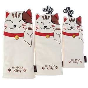 Lucky Cat Golf Headcover for Driver Fairway Hybrid Putter PU Leather Golf Clubs Cover