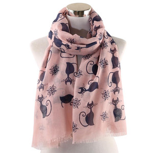 OLOME 2020 Fashion Cute Cat Scarf Pink White Women Ladies Shawls Animal Print Scarves Wrap hijab Stoles Beach Foulard
