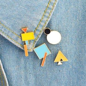 Géométrie Triangle Broche Cercle Rectangle Carré Badges en métal dur émail Pins épinglette Collection Bijoux Sac cadeau Veste Manteau d'accessoires