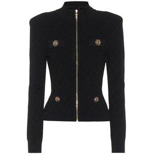 HIGH STREET Newest 2020 Designer Jacket Women's Pockets Lion Buttons Zip Knit Jacket1