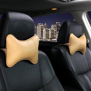 وسادة السفر 1 زوج مقعد السيارة مسند الرأس الرقبة وسادة رئيس دعم وسادة العظام الشكل الألياف الجلود سيارة الوسائد زينة السيارات