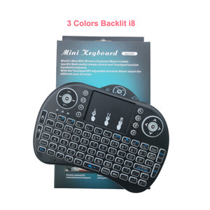 Three Color Backlit Wireless mini Keyboard I8 2.4GHz Remote control Touchpad Handheld multi-touch QWERTY with Three Color Backlit for