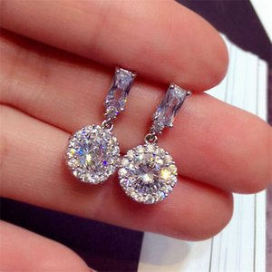 Sparkling Luxury Jewelry 925 Sterling Silver Round Cut White 5A Cubic Zirconia Party Women Wedding Drop Dangle Earring For Lovers' Gift