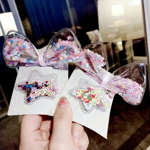 Korean Girls Hair Accessories Jelly Bows Hair Clips PVC Star Hairgrips Band Set Princess Transparent Barrettes for Kids