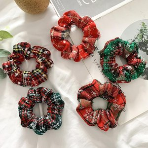 Christmas Hair Scrunchies Ring Retro French Snowflake Red Hair Rope Snowflake Hair Rope Womens Simple Elegant Accessories