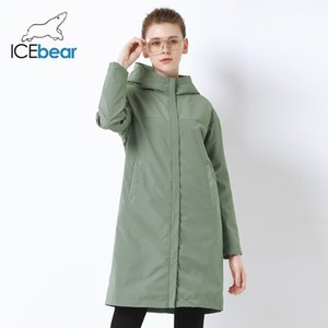 IceBear Outono New Ladies Windies Loose Moda Ocasional Windbreaker LJ201128