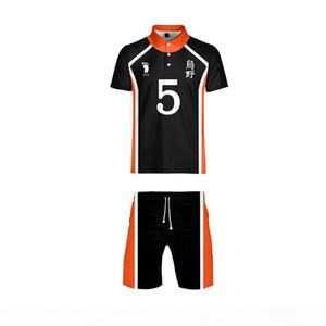 Anime Haikyuu Cosplay Kostüm Karasuno Lisesi Voleybol Kulübü T-Shirt ve Şort Kıyafet Rahat Spor Oyun Formaları Üniforma