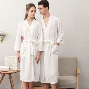 Amantes Moda Waffle Plus Size Bathrobe Mulheres Homens Sexy Quimono Roupão Peignoir Própria Vestes Vestido1