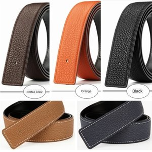 Designerbeltlitchi Pattern Not Leading Smooth Body Top Layer Cowhide Headless h Buckle Strip Bare Belt
