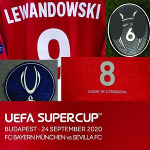 2020 Super Coupe finale Lewandowski match Porté Joueur question Muller Kimmich shirt maillot manches courtes Martinez American College Football Wear