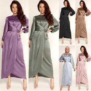 Women Satin Soft Dress Bodycon Sexy Long Sleeve Elegant Party High Waist Streetwear 2021 Spring Summer Clothes Club Dress