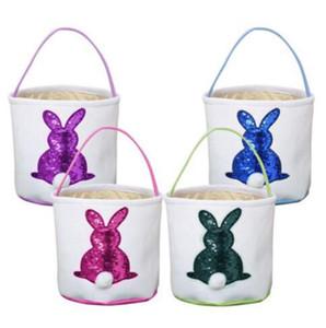 Корзины Блестки Easter Basket Cute Rabbit Tail Лаки Корзина Яичные сумки Мода Детские игрушки хранения Праздник украшения партии WY385DXP