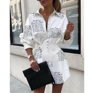 Meihuida Summer Women Long Sleeve Mini Shirt Dress Button V Neck Three Quarter Sleeve Waist Collection Blouses Dress