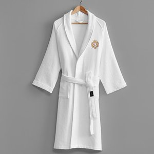 Luxury Winter Bathrobe Women Thicken Cotton Waffle Absorbent Towels Bath Robe Female Five-star Hotel Crown Embroidery Robes