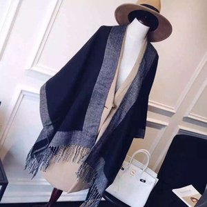 Autumn and winter 2020 scarf women's new cashmere like shawl long tassel thickened oversized dual purpose warm Cape
