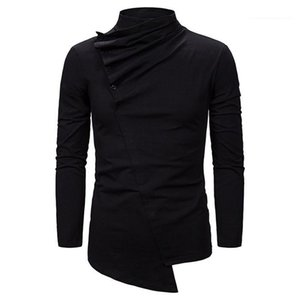 Slim Fit Irregular Tees Male Autumn Top Mens Stacked Neck Panelled Tshirt Long Sleeve