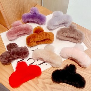 2020 Winter-Frauen-elegante Feste weiche Kaninchen-Pelz-Haar-Greifer Süße Stirnband Haar-Klipp-Haarnadeln Schöne Mode Haarschmuck