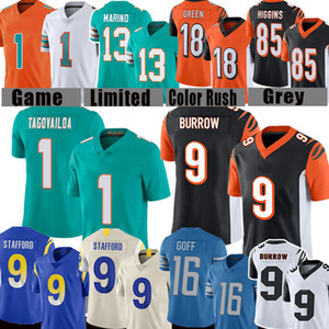 1 Tua TuaVailoa 9 Joe Burrow Football Jersey 16 Jared Goff Matthew Stafford 13 Dan Marino 18 A.J. Verde 85 Tee Higgins Jerseys