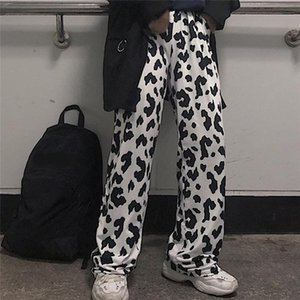 Cow Print Pants Women Korean Style Cow Print Wide Leg Pants Harajuku Trousers Summer Korean Clothes Streetwear Women