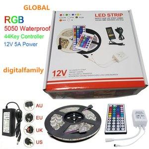LED Strip Light RGB 5050 5M Strisce LED Regalo di Natale Impermeabile con 44 tasti IR Remote Controller + Adattatore di alimentazione DC12V 5A in scatola al minuto