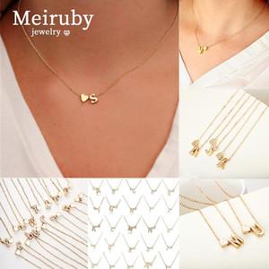 26 Lettre Nom d'or Neckalce femmes Jewerly mode cadeau Sliver coeur pour collier de chaîne femmes Lien