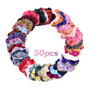 High-Quality Satin Hair Rubber Bands Suit Solid Color Fabric 50 Color Imitation Silk Large Intestine Hair Ring Accessories