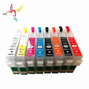 4PCS / SET T1591-T1599 Cartucho de tinta de recarga para la impresora de escritorio R2000 con chip de arco permanente Auto Restablecer Chip T1591-T15991
