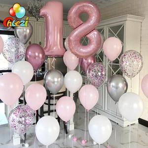Festa Decoração Feliz Aniversário Balões Número Rosa Hélio Látex Ballon Conferetti Globos Casamento Supply Decor
