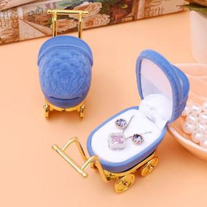 DoreenBeads Jewelry Cajas de regalo Pantalla de embalaje de plástico Terciopelo Bebé Carro con forma de color azul oscuro al por mayor 8.6x3.4cm 1 pieza