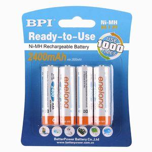 Double A battery Ni-MH 1.2V rechargeable battery AA2400 mAh Size 5 battery 4 pcs 1 lot