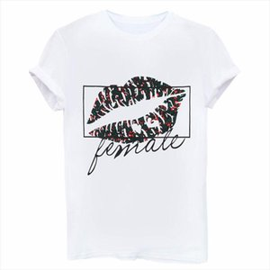 Sexy Black Lip Print T Shirt Women Short Sleeve O Neck Loose White Tshirt 2020 Summer Women Tee Shirt Tops Camisetas Mujer