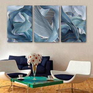 Özet Altın ve Mavi Poster Kurdele Resim Baskılar Tuval Çerçevesi Wall Art Modern Işık Lüks Posterler Ev Dekorasyonu Boyama için
