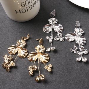 Achice with The Department of Metal Pieces of Flowers Earrings Exaggerated Earrings Fashionable Temperament Big Earrings 691